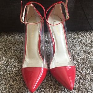 Shiny red heels.